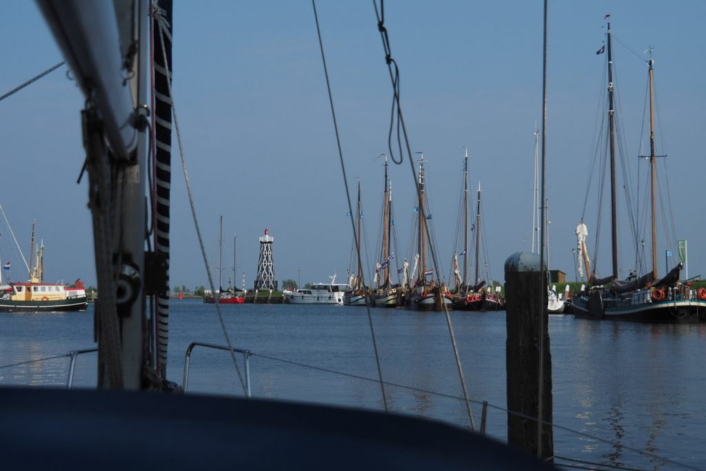 View from mala moja lying in one of the three old harbors in Enkhuizen