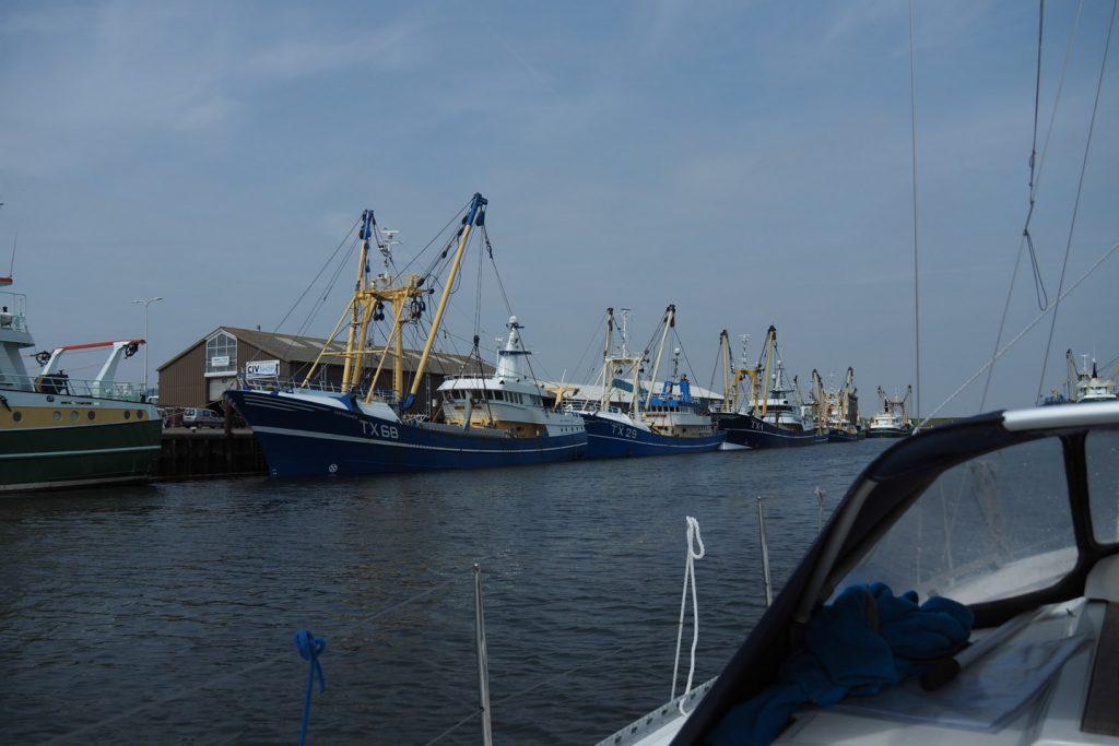 The fishing fleet of Texel when entering the port of Oudeschild