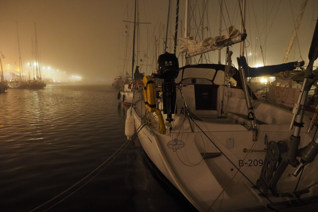 My home waiting in Scheveningen's foggy harbor
