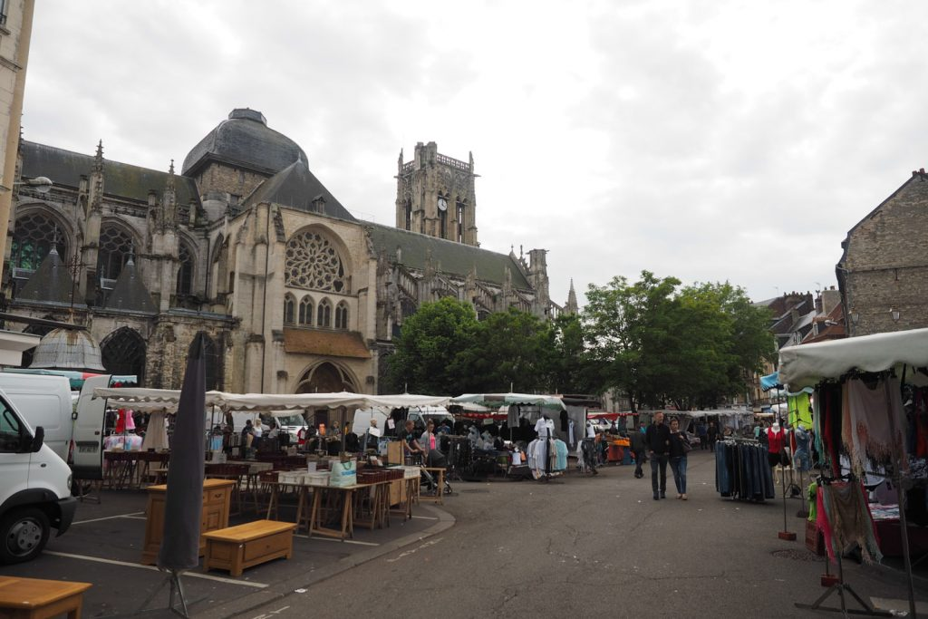 Market next to Dieppe's cathedral