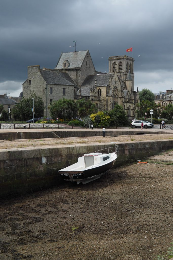 Church in Cherbourg with a boat fallen dry