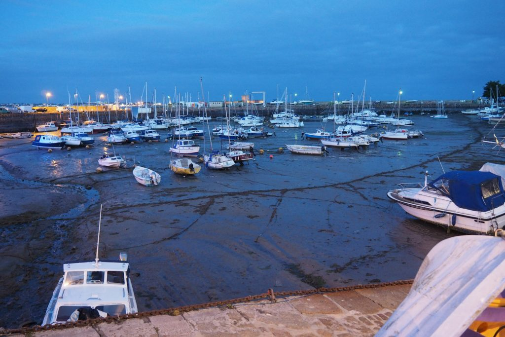 Dry harbor in St.Helier, Jersey, by night