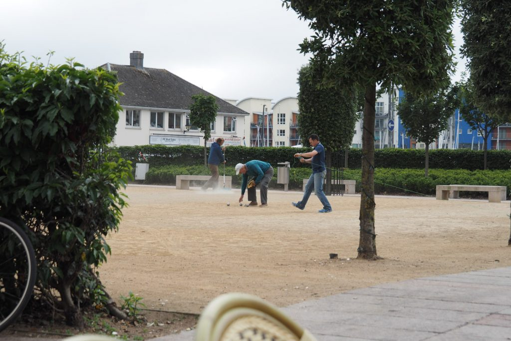 Pétanque players in Jersey, despite being British the island is strongly influenced by french culture