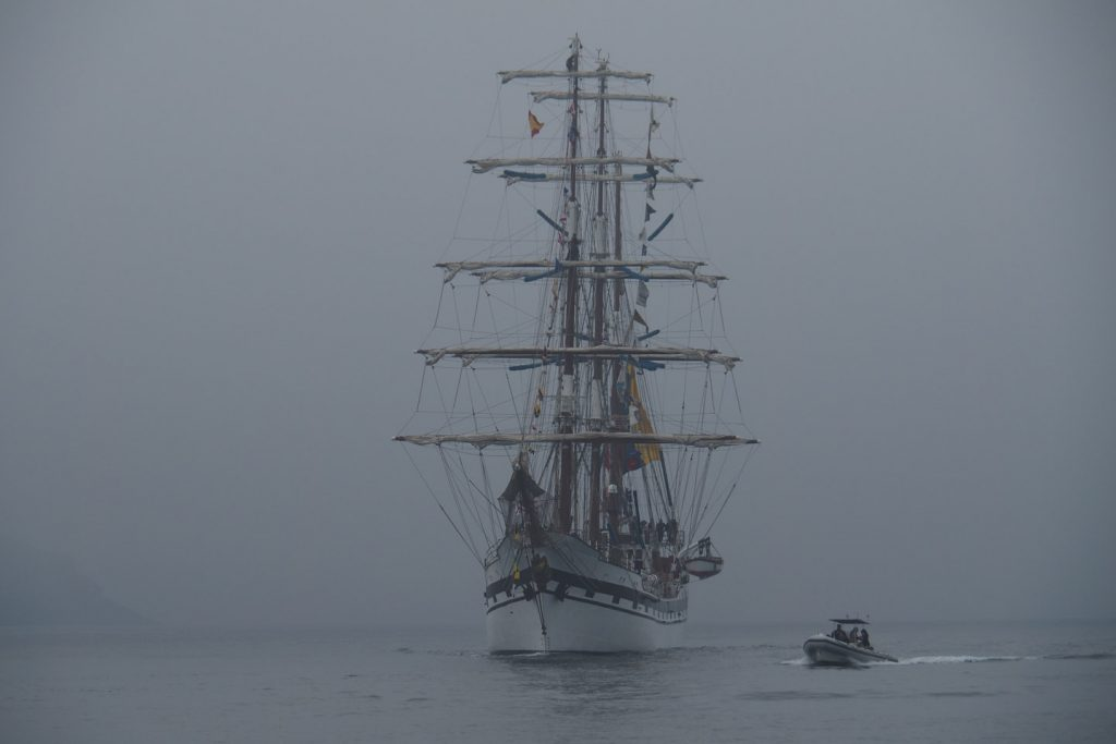 "The first of the ""Tall Ship Race"" flotilla exiting A Coruña on our way in."