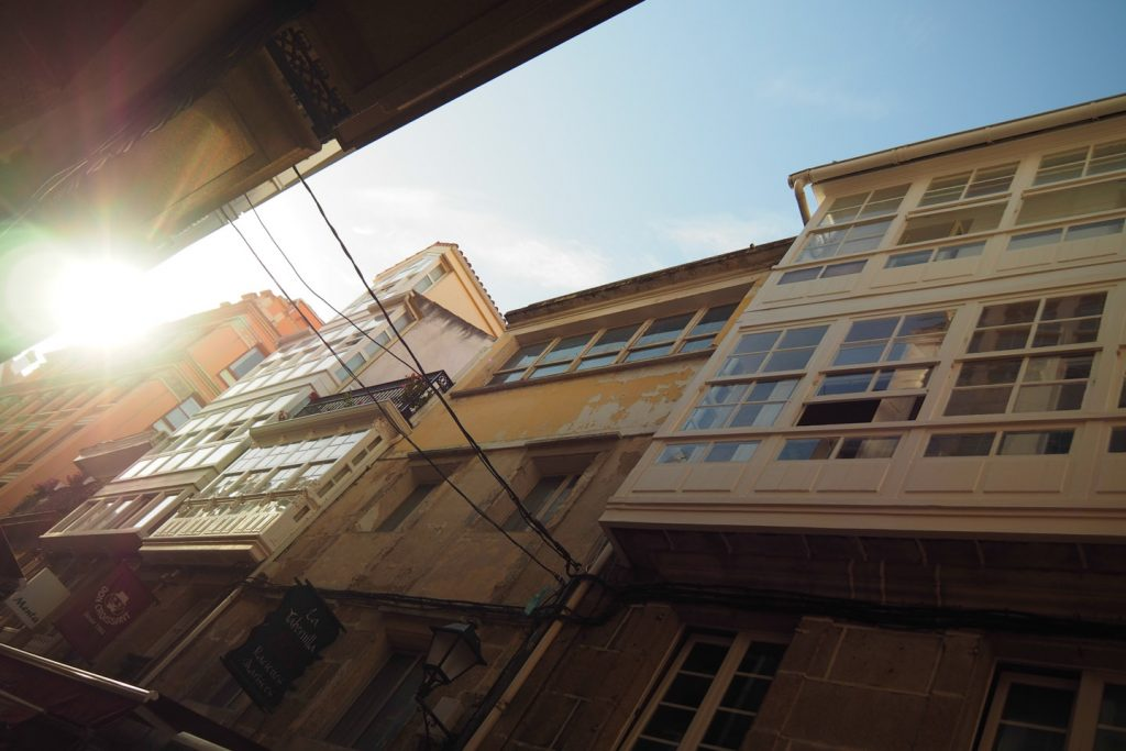 Street view from a Jamoneria in A Coruña's city center