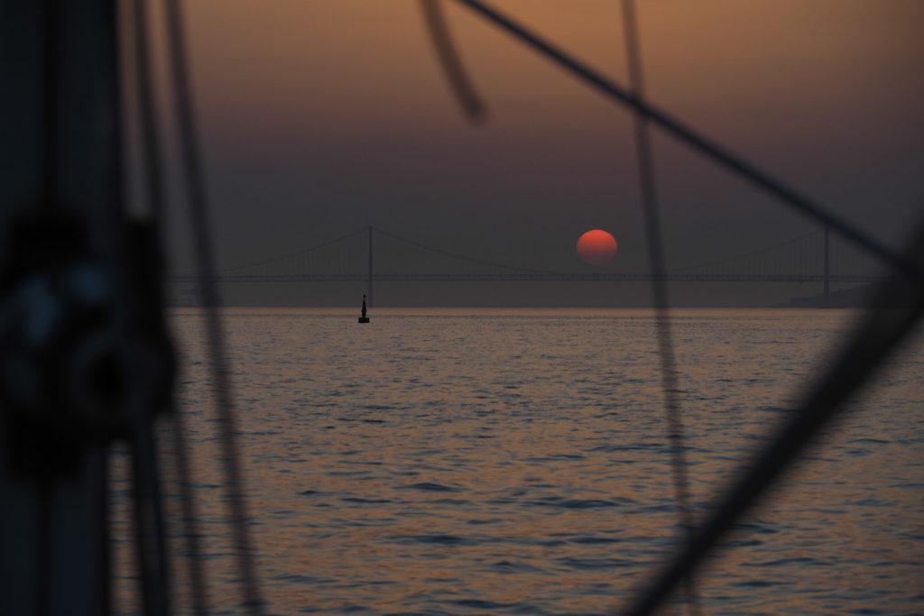 Great sunrise when entering Lisbon after a night's sailing from Peniche