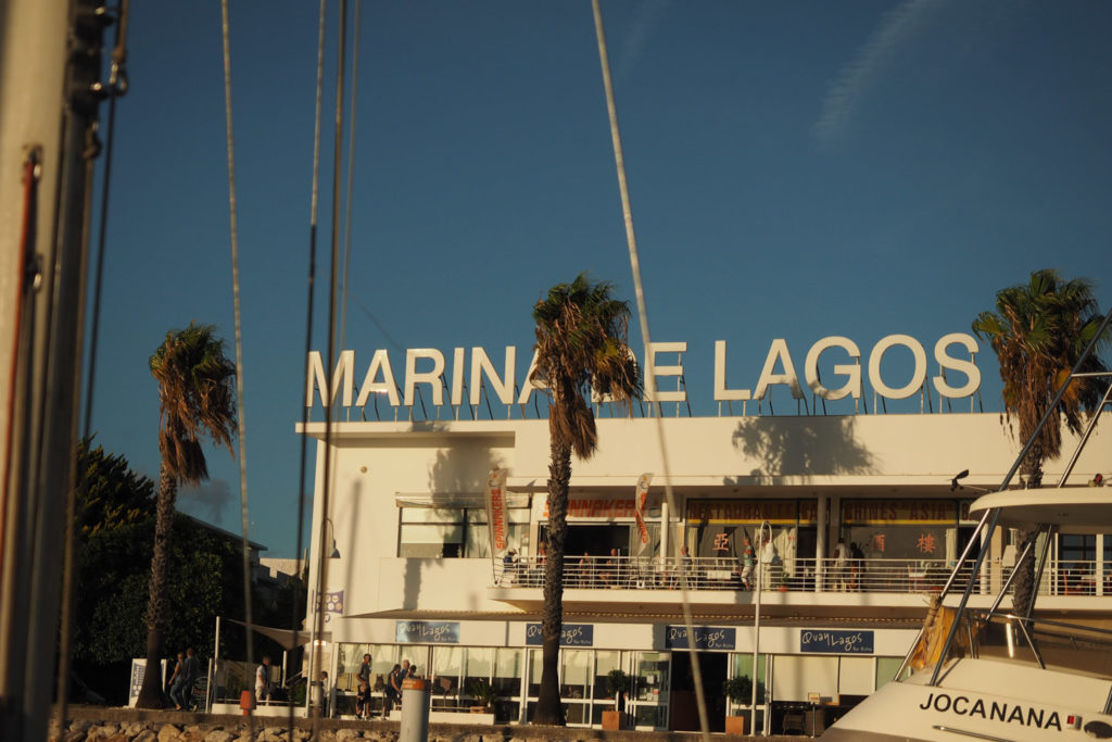 Marina de Lagos, mala moja's last harbour on this trip. At the south tip of the Iberian Peninsula.