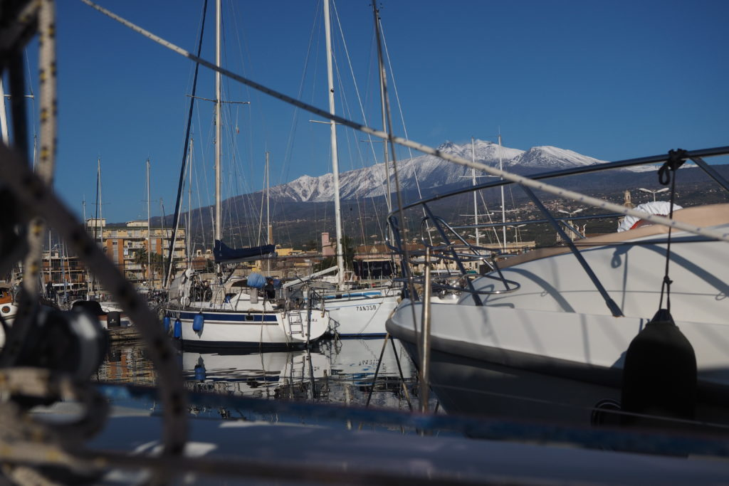 View of Mt. Etna from the boat in the marina